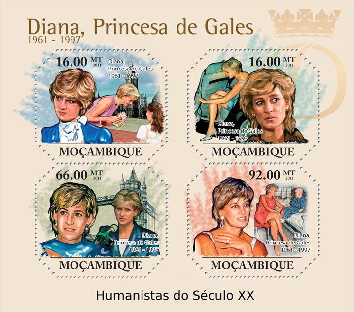 Diana, Princes of Wales, (1961-1997). - Issue of Mozambique postage Stamps