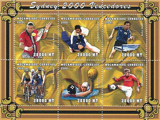 Tennis, Judo, Ping-Pong, Cyclisme, Waterpolo, Football 6 x 28000 MT - Issue of Mozambique postage Stamps