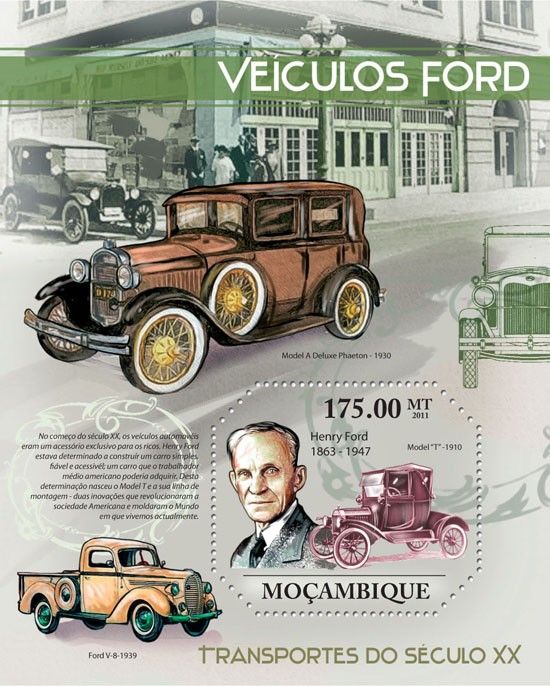 Vintage Ford Cars. - Issue of Mozambique postage Stamps