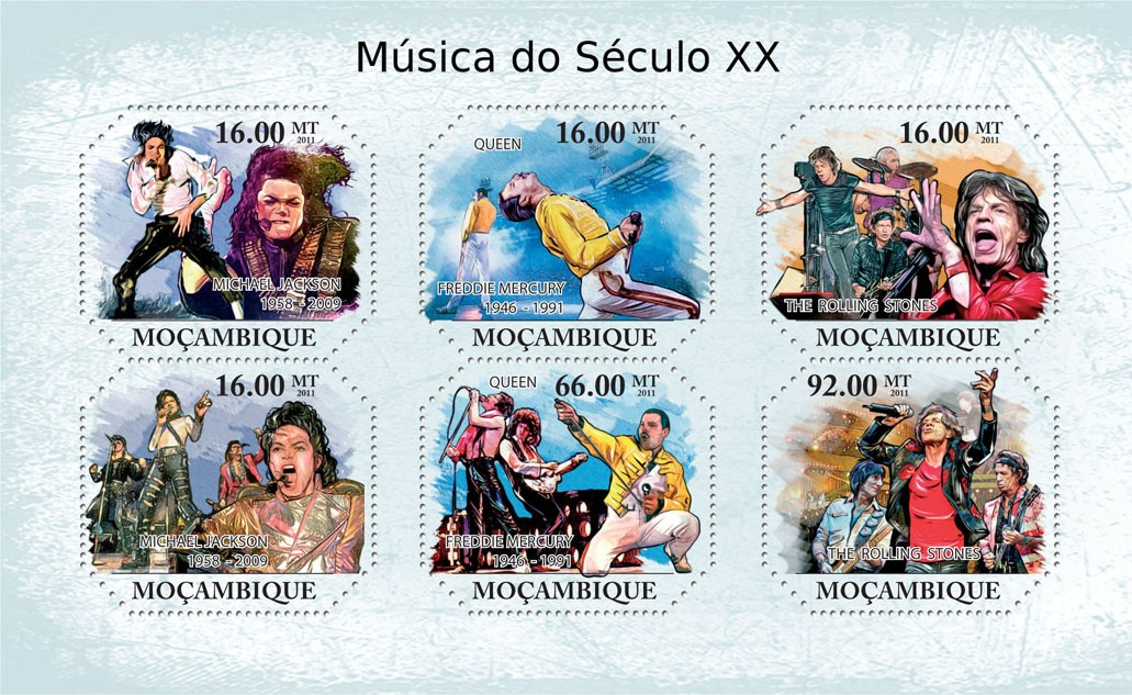 XX Century Music, (Michael Jascon, The Rolling Stones). - Issue of Mozambique postage Stamps