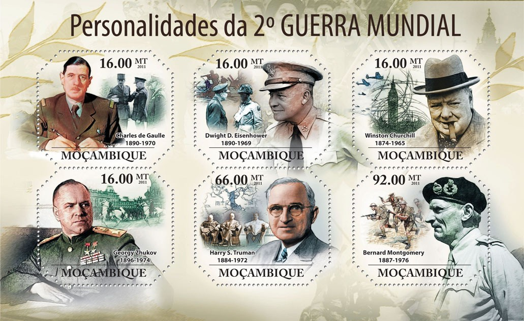 Personalities of World War II,  (Charles de Gaule, Bernard Montgomery). - Issue of Mozambique postage Stamps
