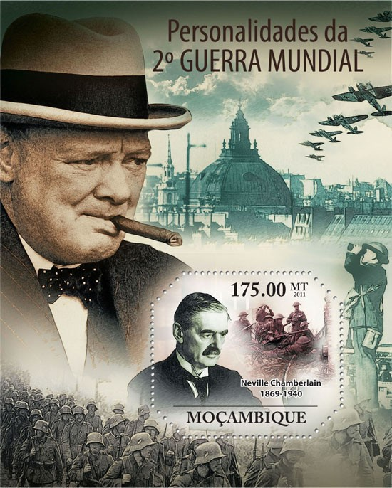 Personalities of World War II, (Neville Chamberlain). - Issue of Mozambique postage Stamps