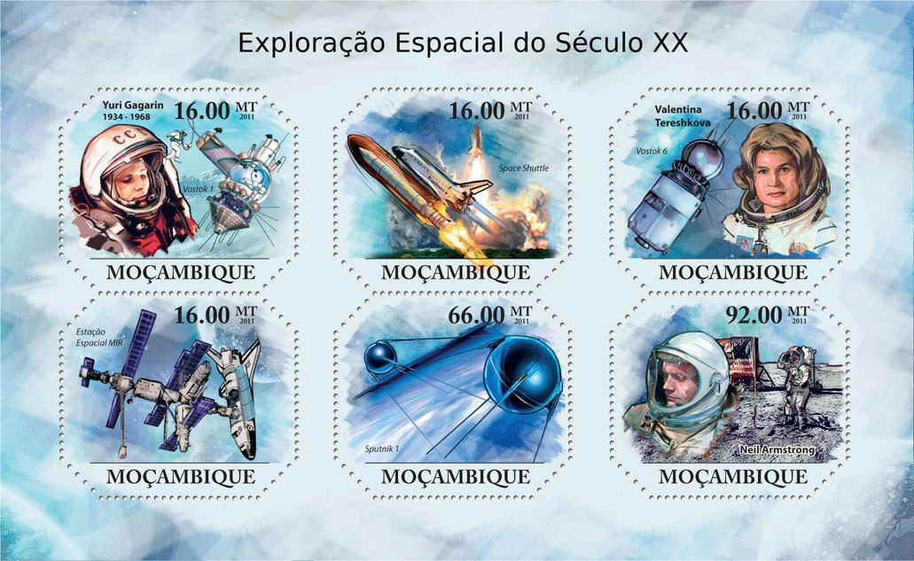 Space Explorations of XX Century, (Youri Gagarin, Neil Armstrong). - Issue of Mozambique postage Stamps
