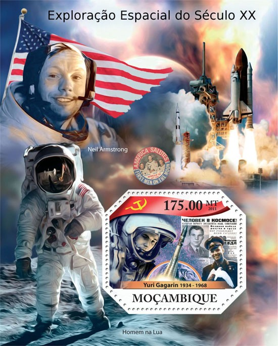 Space Explorations of XX Century, (Youri Gagarin). - Issue of Mozambique postage Stamps
