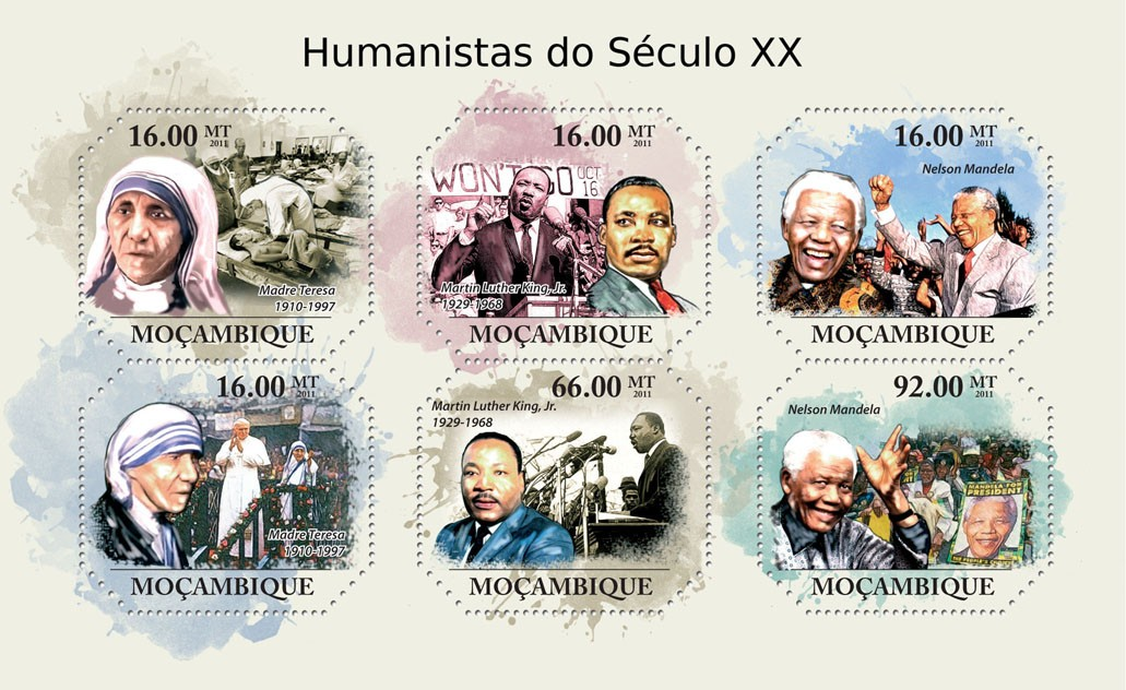 Humanists of XX Century,  (Mother Teresa, Nelson Mandela). - Issue of Mozambique postage Stamps