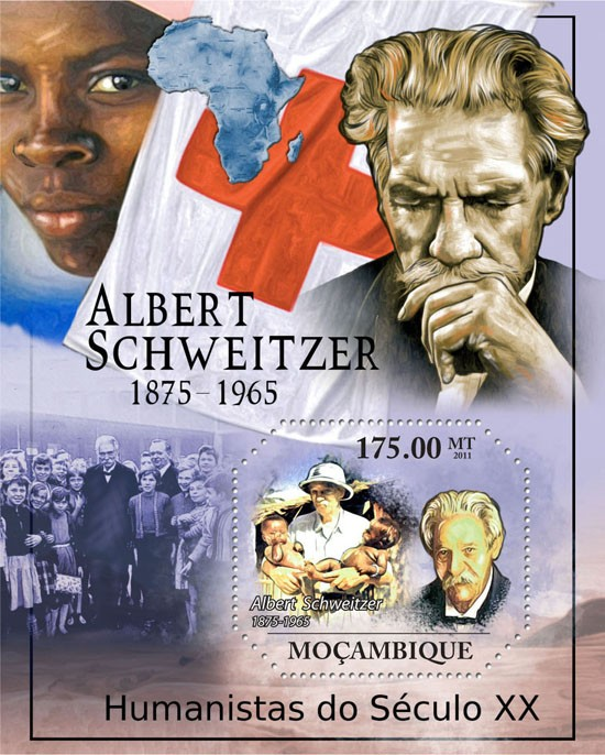 Humanists of XX Century,  (Albert Schweitzer). RED CROSS. - Issue of Mozambique postage Stamps