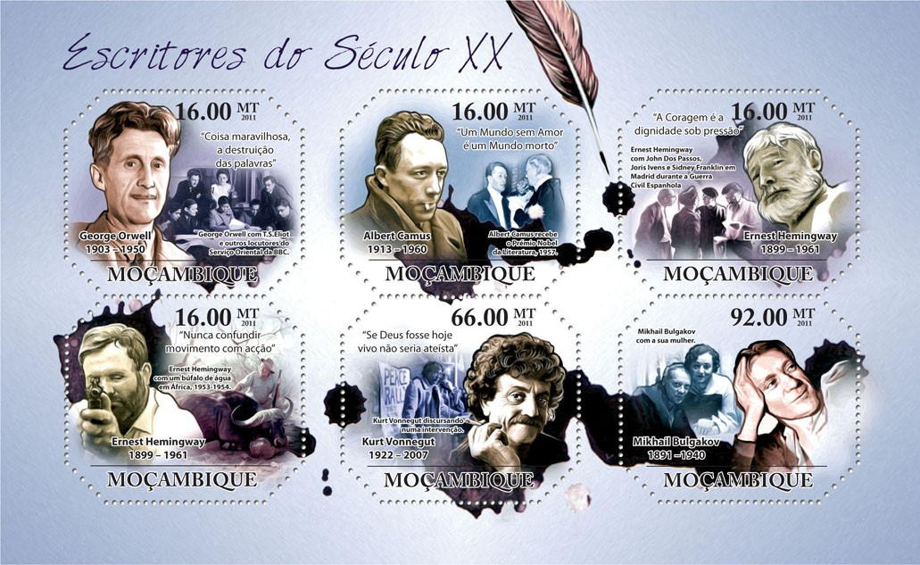 Writers of XX Century,  (George Orwell, Mikhail Bulgakov). - Issue of Mozambique postage Stamps
