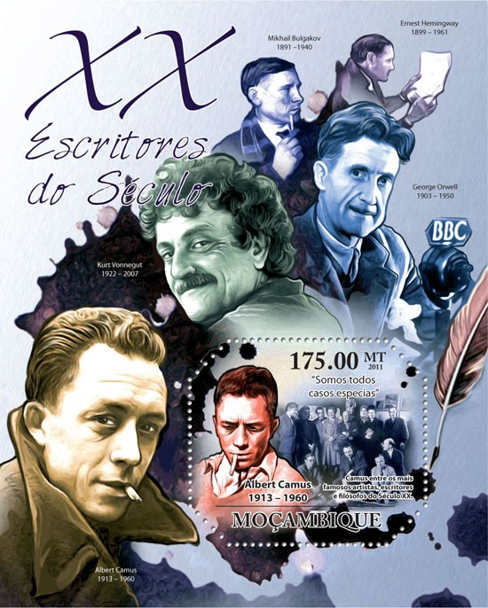 Writers of XX Century, (Albert Camus). - Issue of Mozambique postage Stamps