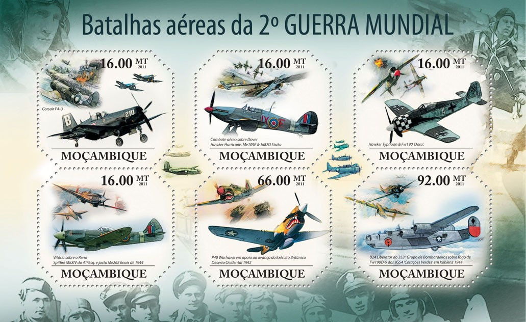 Aerial Battles of World War II, Aircrafts. - Issue of Mozambique postage Stamps