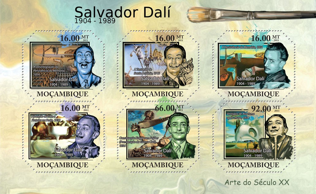 Salvador Dali - Issue of Mozambique postage Stamps