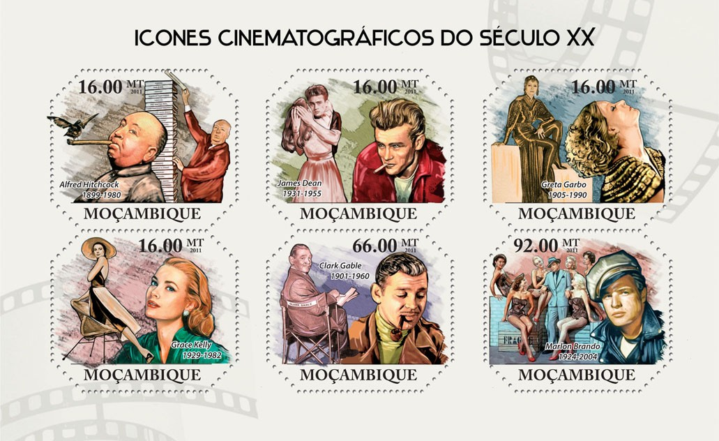 Cinema Icons of XX Century,  (Alfred Hitchcock, Marlon Brando). - Issue of Mozambique postage Stamps