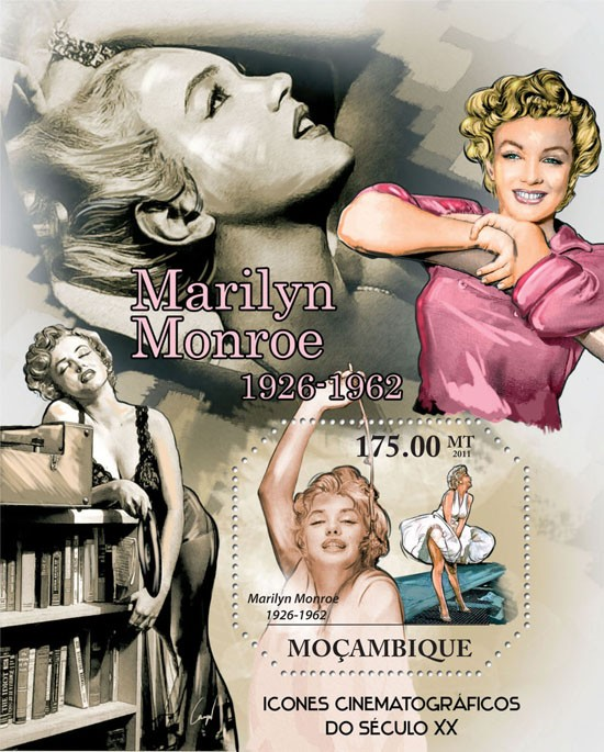 Cinema Icons of XX Century, (Marilyn Monroe). - Issue of Mozambique postage Stamps