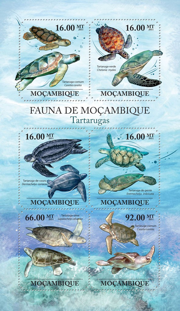 Turtles, (Caretta carretta, Lepidochelys olivacea). - Issue of Mozambique postage Stamps