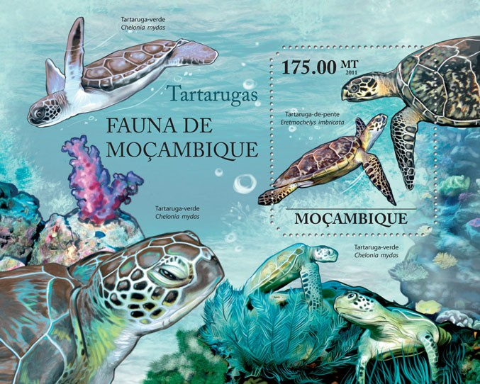 Turtles, (Eretmochelys imbricata). - Issue of Mozambique postage Stamps
