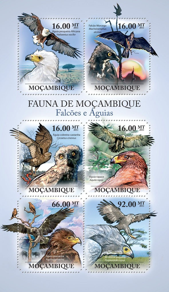 Hawks & Eagles,  (Haliaeetus vocifer, Polyboroides typus). - Issue of Mozambique postage Stamps