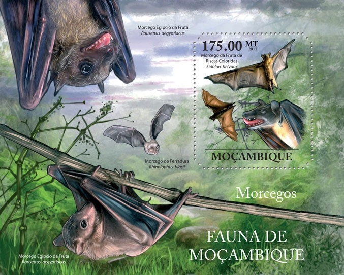 Bats, (Eidolon helvum). - Issue of Mozambique postage Stamps