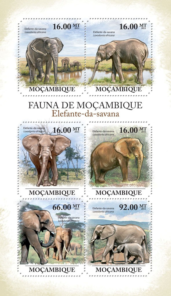 Elephants of Savana, (Loxodonta africana). - Issue of Mozambique postage Stamps