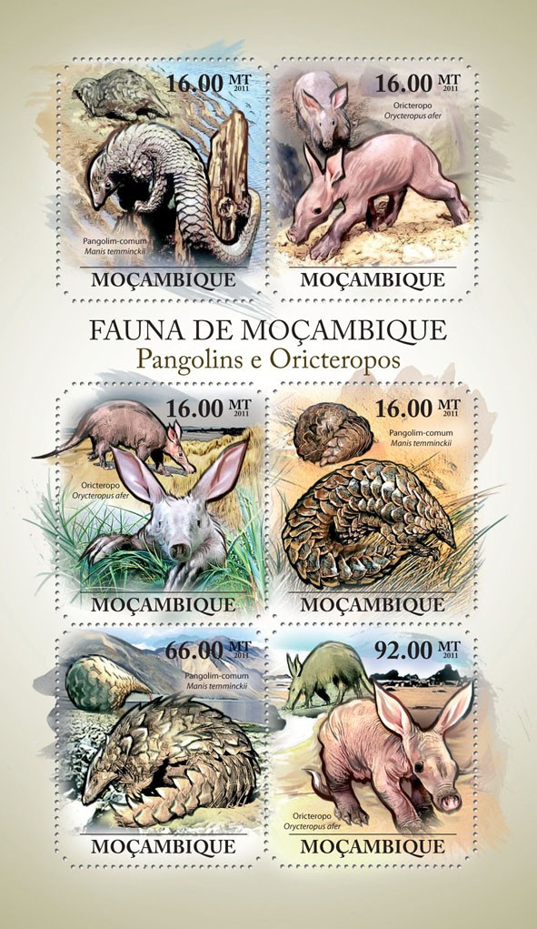 Pangolins & Aardvarks,  (Manis temminckii, Orycteropus after). - Issue of Mozambique postage Stamps