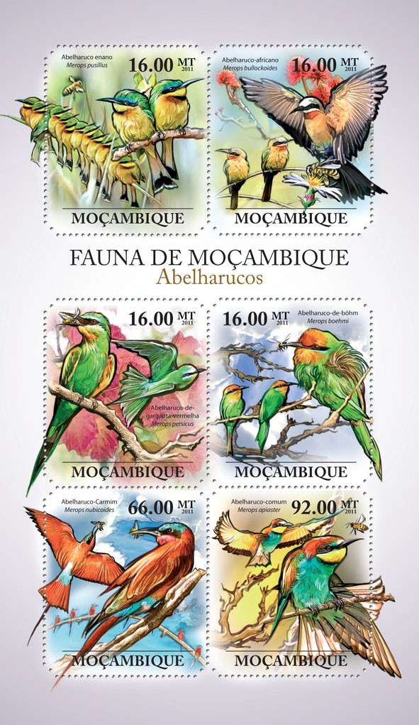Bee Eaters, (Merops pusillus, Merops apiaster). - Issue of Mozambique postage Stamps