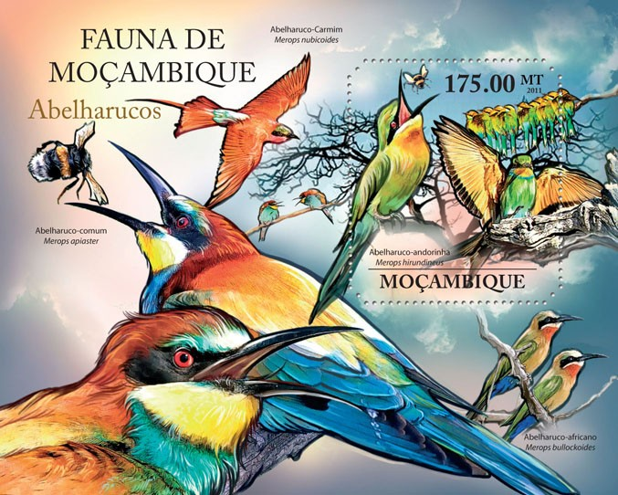 Bee Eaters, (Merops hirundineus). - Issue of Mozambique postage Stamps