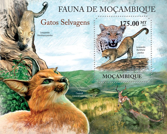 Wild Cats, (Panthera pardus). - Issue of Mozambique postage Stamps