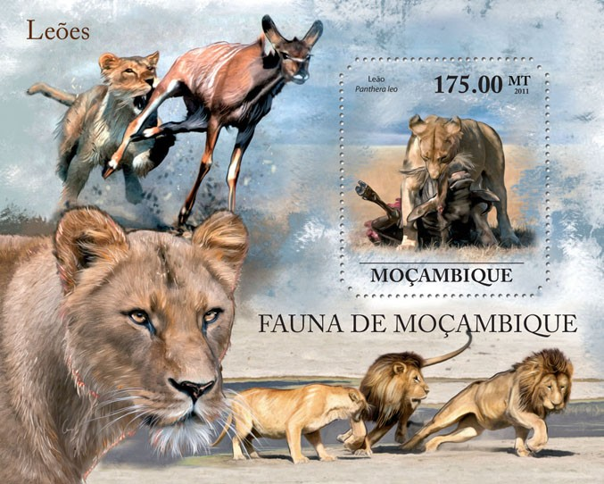 Lions, (Panthera leo). - Issue of Mozambique postage Stamps