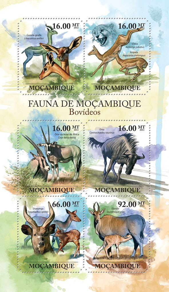 Antelopes, (Gazela-girafa, Elande). - Issue of Mozambique postage Stamps