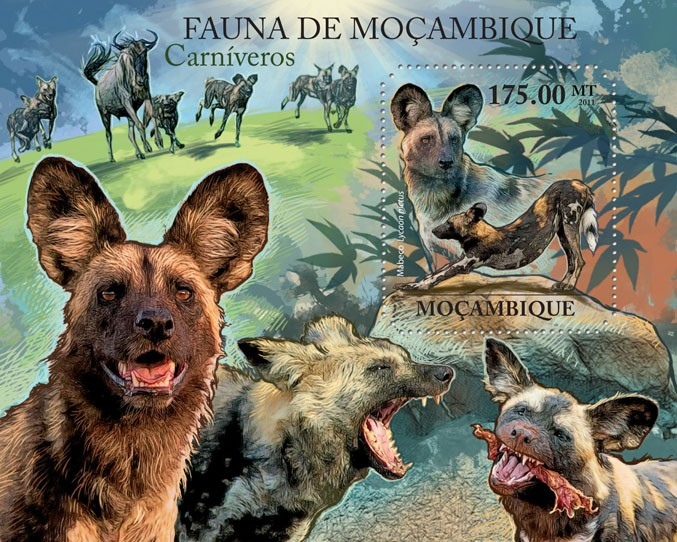 African Wild dogs, (Mabeco). - Issue of Mozambique postage Stamps