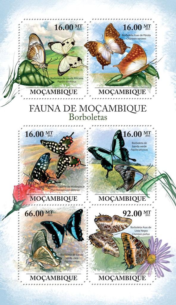 Butterflies, (Cauda Africana, Asas de Lista Negra). - Issue of Mozambique postage Stamps