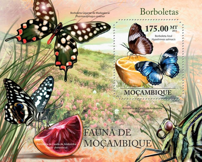 Butterflies, (Azul). - Issue of Mozambique postage Stamps