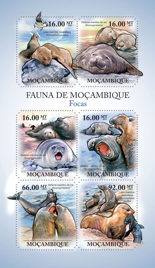 Seals, (Lobo-marinho, Elephante-marino). - Issue of Mozambique postage Stamps