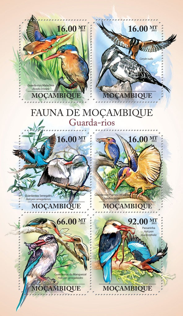 Kingfishers, (Guarda-rios- Malachite, Passarinha). - Issue of Mozambique postage Stamps
