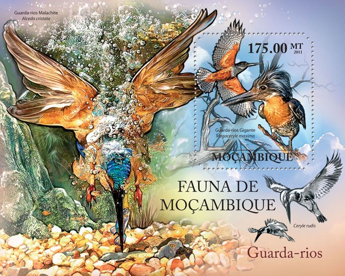 Kingfishers, (Guarda-rios Gigante). - Issue of Mozambique postage Stamps