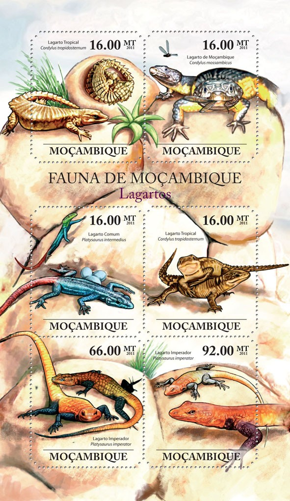 Lizards, (Lagarto Tropicals, Lagarto Imperador). - Issue of Mozambique postage Stamps