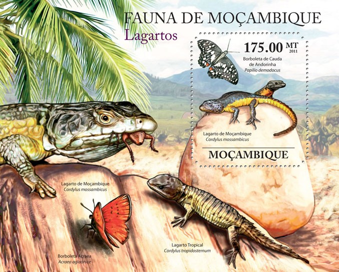 Lizards, (Lagarto de Mozambique). - Issue of Mozambique postage Stamps