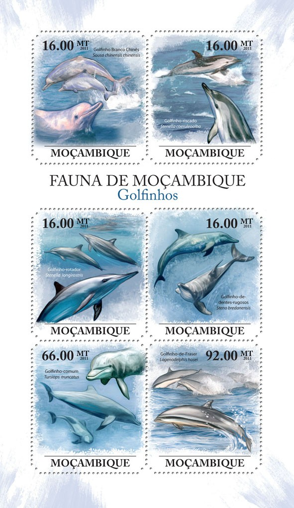 Dolphins, (Golfino Branco Chines, Golfino-de-Fraser). - Issue of Mozambique postage Stamps