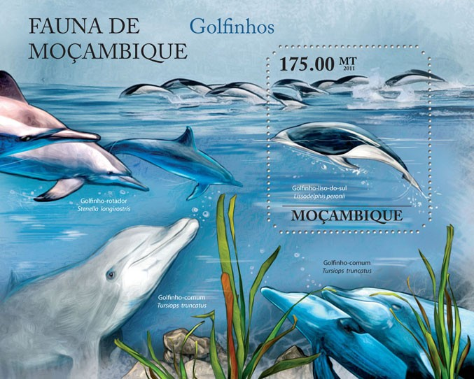 Dolphins, (Golfino-liso-do-sul). - Issue of Mozambique postage Stamps