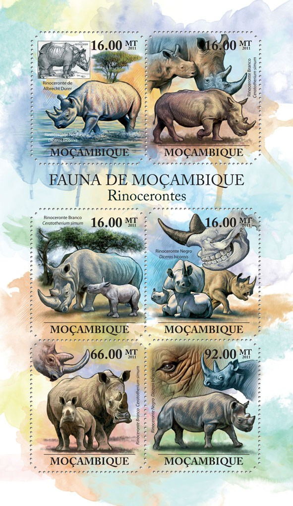 Rhinos, (Rinoceronte de Albrect Durer, Rinoceronte Negro). - Issue of Mozambique postage Stamps