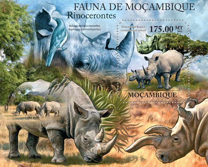 Rhinos, (Rinoceronte Branco). - Issue of Mozambique postage Stamps