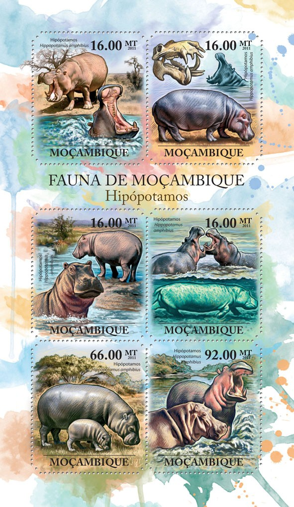 Hippos, (Hippopotamus amhibius). - Issue of Mozambique postage Stamps