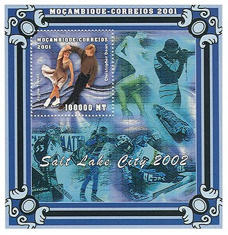 J.Torvill, C.Dean 100000 MT  S/S - Issue of Mozambique postage Stamps
