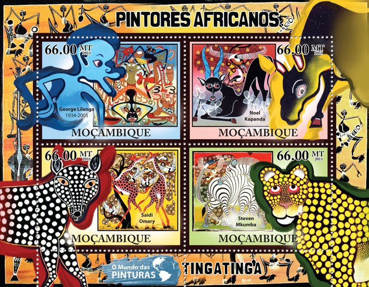African Paintings, (George Lilanga,Steven Mkumba). - Issue of Mozambique postage Stamps