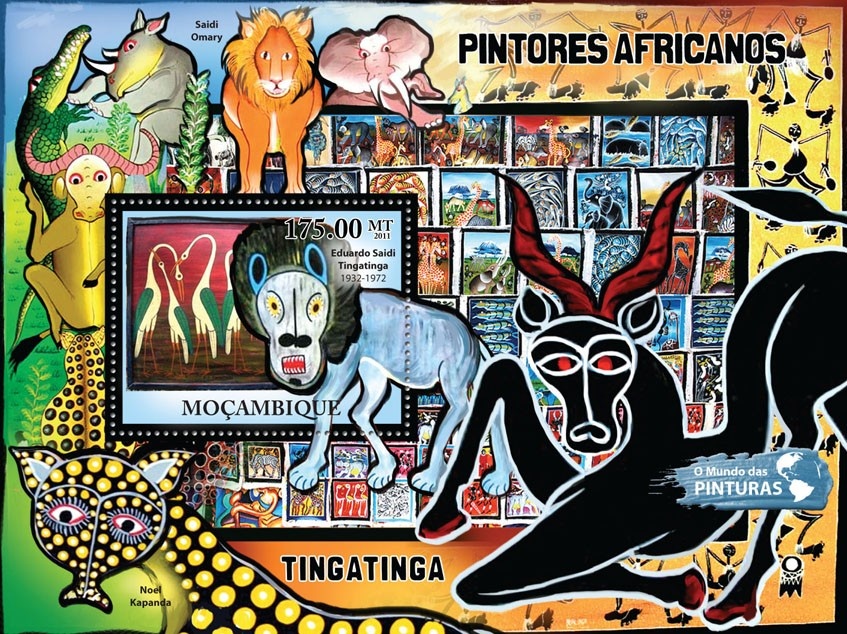African Paintings, (Eduardo Saidi Tingatinga). - Issue of Mozambique postage Stamps