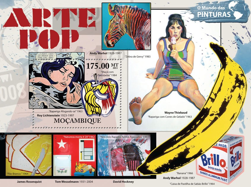 Pop Art, (Roy Lichtenstein). - Issue of Mozambique postage Stamps