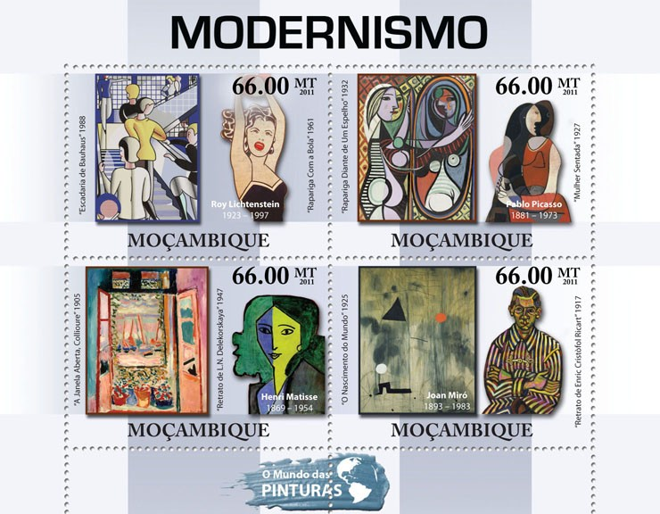Modernism, (Roy Lichtenstein, Joan Miro). - Issue of Mozambique postage Stamps