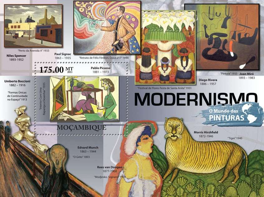 Modermism - Issue of Mozambique postage Stamps