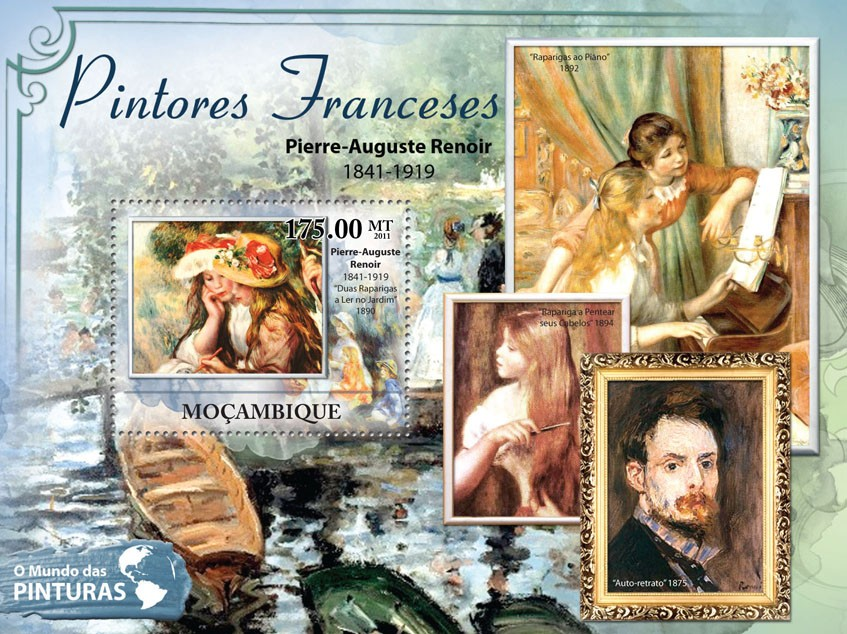 French Paintings, (Pierre-Auguste Renoir). - Issue of Mozambique postage Stamps