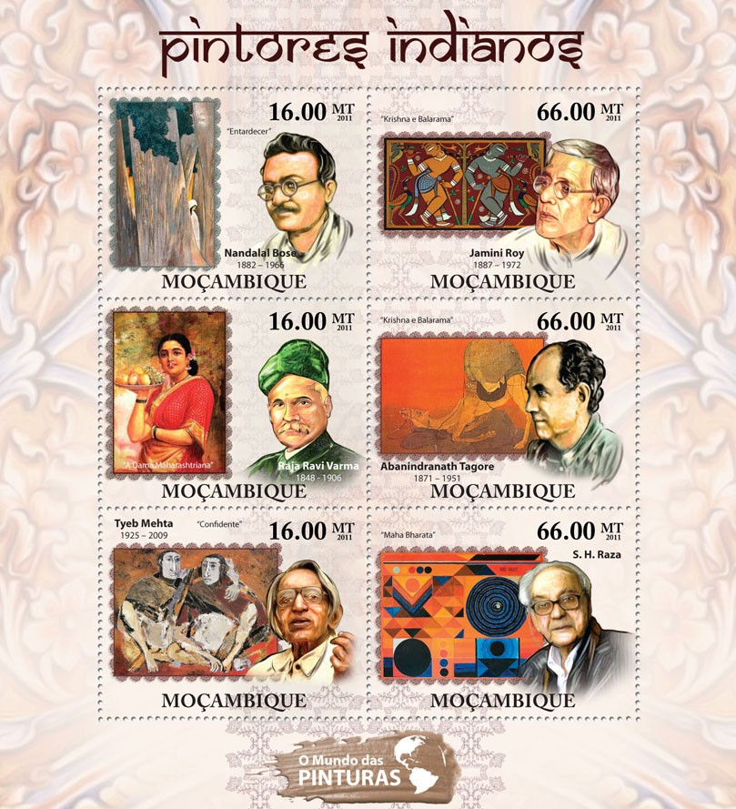 Indian Paintings, (Nandalai Bose, S.H. Raza). - Issue of Mozambique postage Stamps