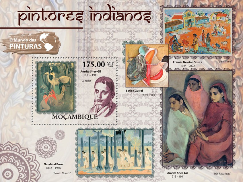 Indian Paintings, (Amrita Sher-Gil). - Issue of Mozambique postage Stamps