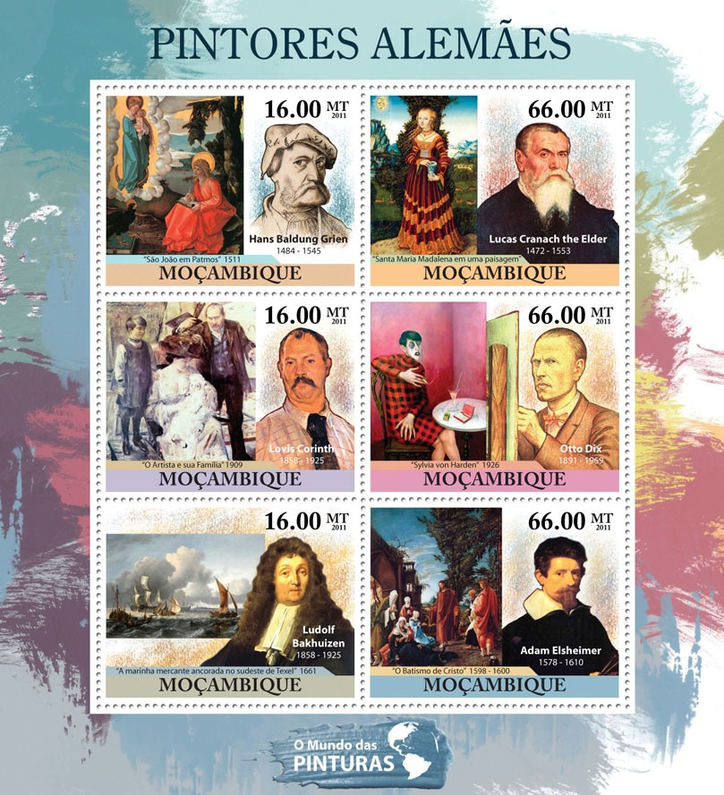German Paintings, (Hans Baldung Grien, Adam Elsheimer). - Issue of Mozambique postage Stamps